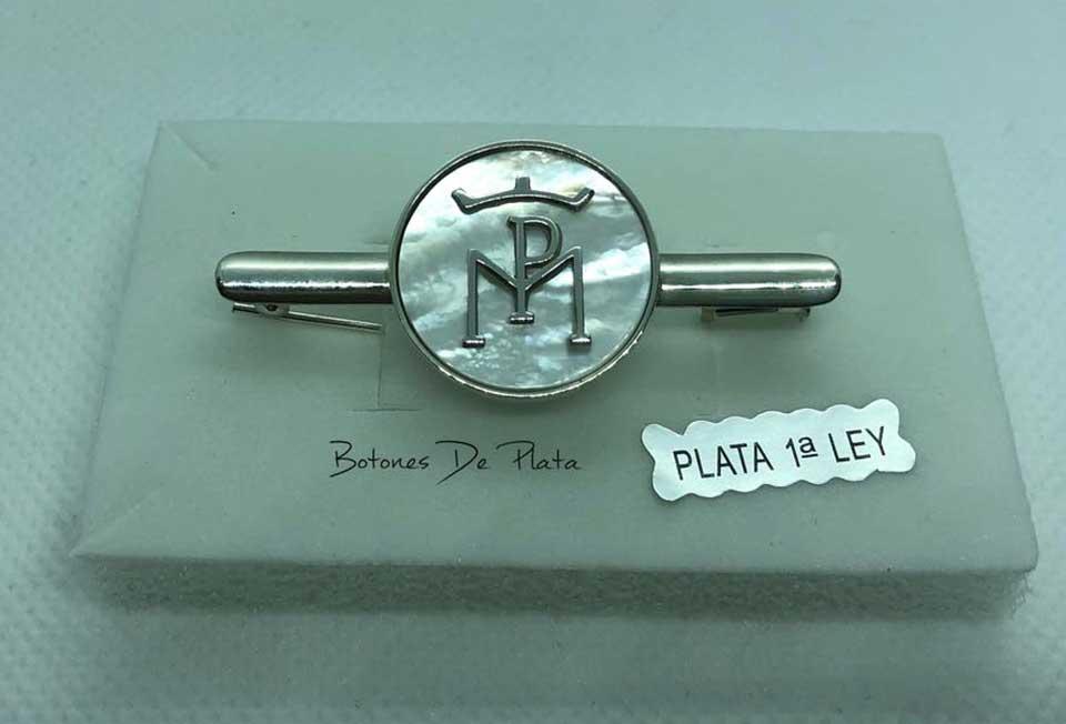 Botones de Plata-Alfiler-amazonas-nacar-y-plata