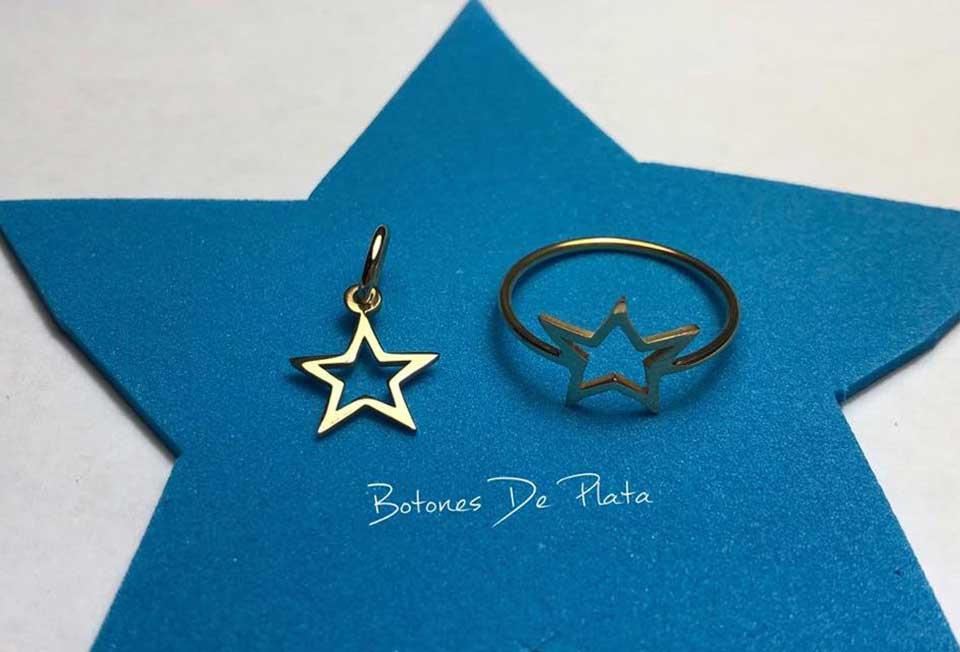 Botones de plata-Conjunto oro 18k anillo y colgante estrella