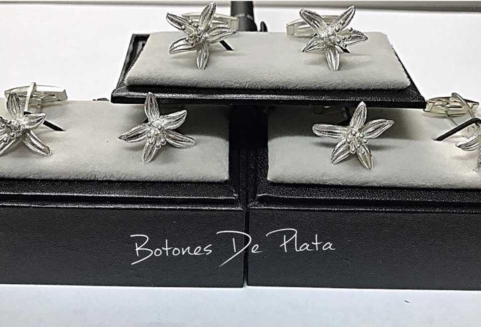 Botones de Plata-gemelos-flor-de-azahar