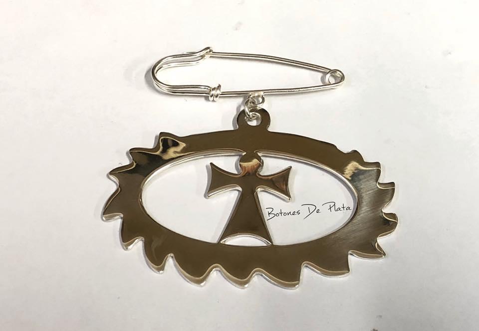 Botones de Plata- Medallon para carro de bebé Rosca y cruz de san Antonio