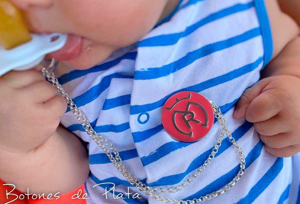 Botones de Plata-alfiler-bebé-a-color-y-cadena-para-chupe