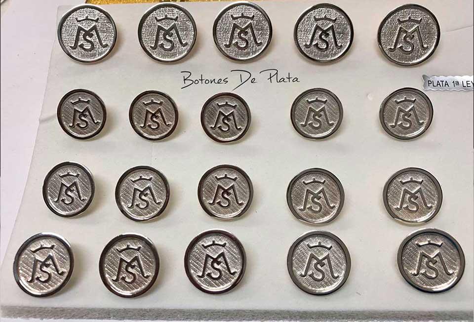Botones de Plata-botonadura-cerco-liso-brillante