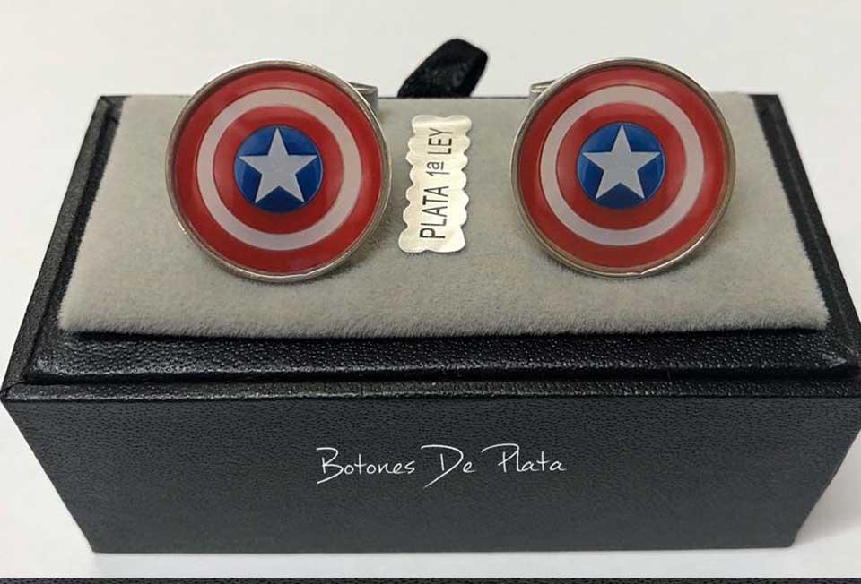 Botones de Plata-gemelos-capitan-america