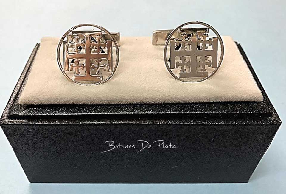 Botones de Plata-gemelos-cruz-de-jerusalen