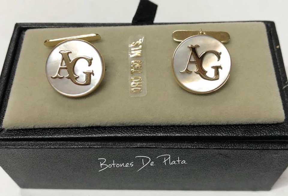Botones de Plata-gemelos-nacar-y-oro