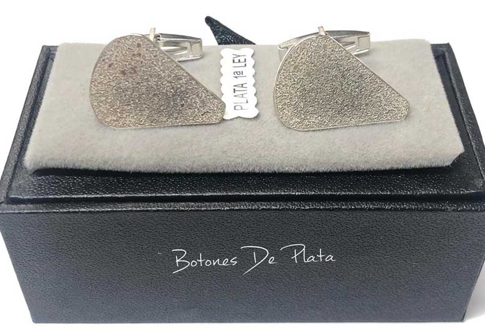 Botones de Plata-Gemelos-piedra-molino