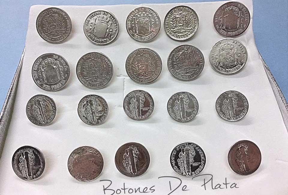Botones de Plata-monedas para botones. españa venezuela estados unidos